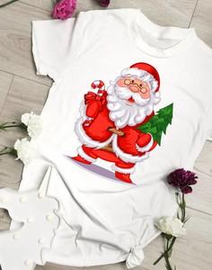 Bluzka Time For Fashion w młodzieżowym stylu z bawełny w bożonarodzeniowy wzór