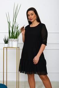 Czarna sukienka Royalfashion.pl z okrągłym dekoltem mini