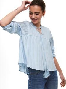 Niebieska bluzka Only z okrągłym dekoltem z długim rękawem w stylu casual