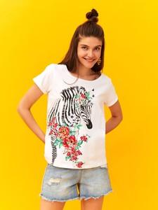 T-shirt Top Secret z okrągłym dekoltem z krótkim rękawem
