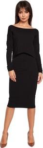 Czarna sukienka Be ołówkowa z długim rękawem midi