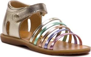 Złote buty dziecięce letnie Naturino ze skóry