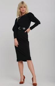 Czarna sukienka Renee z długim rękawem z okrągłym dekoltem