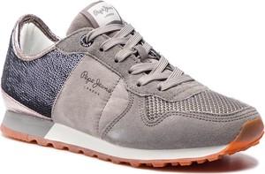 Buty sportowe Pepe Jeans z płaską podeszwą sznurowane w sportowym stylu
