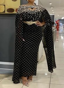 Czarna sukienka Sandbella z okrągłym dekoltem maxi z długim rękawem