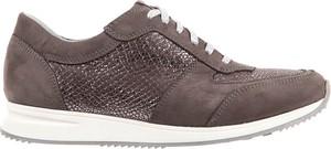 Brązowe buty sportowe bayla z zamszu sznurowane z płaską podeszwą