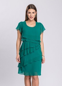 Zielona sukienka Semper z krótkim rękawem z okrągłym dekoltem mini