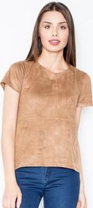 Brązowy t-shirt Figl z zamszu z okrągłym dekoltem