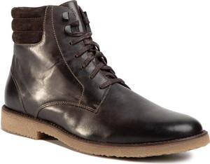 Brązowe buty zimowe Gino Rossi ze skóry sznurowane