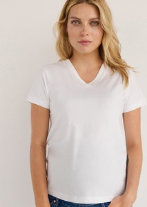 T-shirt Reserved z dekoltem w kształcie litery v