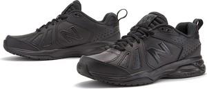 Czarne buty sportowe New Balance ze skóry sznurowane z płaską podeszwą