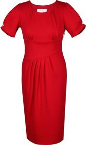 Czerwona sukienka Fokus z okrągłym dekoltem z krótkim rękawem z dzianiny