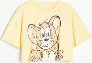 T-shirt Reserved z krótkim rękawem z okrągłym dekoltem z bawełny
