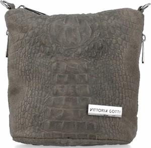 Brązowa torebka VITTORIA GOTTI w stylu casual zamszowa ze skóry