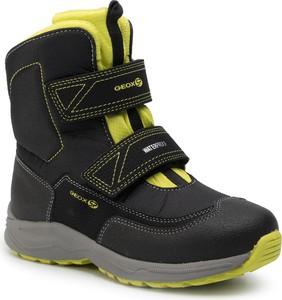 Czarne buty dziecięce zimowe Geox na rzepy