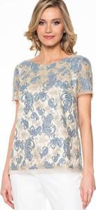Niebieska bluzka POTIS & VERSO z okrągłym dekoltem z krótkim rękawem