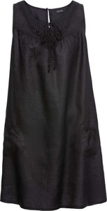 Sukienka bonprix BODYFLIRT mini bez rękawów z lnu