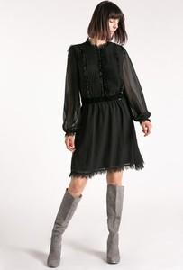 Czarna sukienka Monnari z okrągłym dekoltem z długim rękawem mini