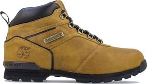 Żółte buty zimowe Timberland ze skóry sznurowane