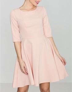 Różowa sukienka LENITIF mini z długim rękawem z okrągłym dekoltem