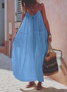 Niebieska sukienka Cikelly na ramiączkach maxi w stylu boho