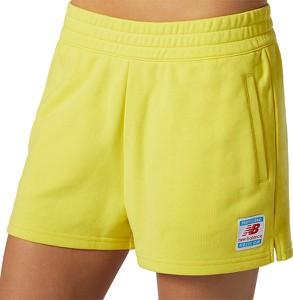 Żółte szorty New Balance w sportowym stylu z dzianiny