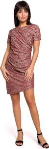 Różowa sukienka MOE z bawełny z krótkim rękawem z okrągłym dekoltem