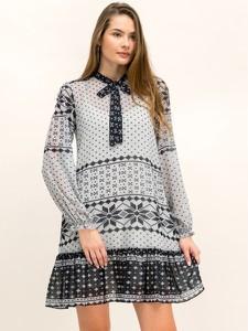 Sukienka My Twin z żabotem z długim rękawem