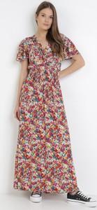 Sukienka born2be z dekoltem w kształcie litery v z krótkim rękawem
