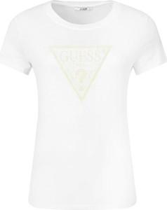 T-shirt Guess Jeans w stylu casual z okrągłym dekoltem
