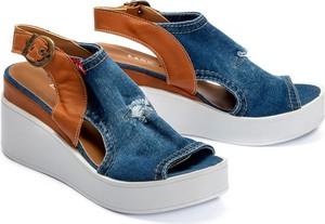 Niebieskie sandały Lanqier w stylu casual z klamrami ze skóry