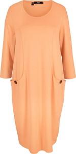 Pomarańczowa sukienka bonprix z okrągłym dekoltem w stylu casual