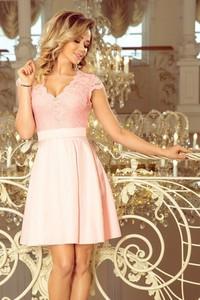 Różowa sukienka NUMOCO z dekoltem w kształcie litery v mini