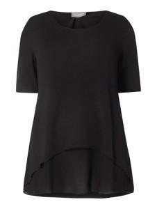 Czarna bluzka Samoon z krótkim rękawem w stylu casual z okrągłym dekoltem