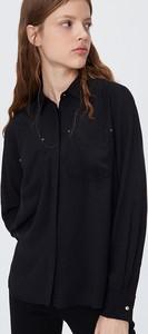Czarna koszula Sinsay z kołnierzykiem z długim rękawem