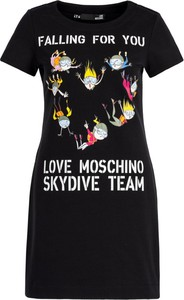 Sukienka Love Moschino w stylu casual trapezowa z okrągłym dekoltem
