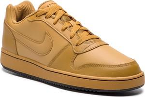 Żółte buty sportowe Nike w sportowym stylu ze skóry sznurowane