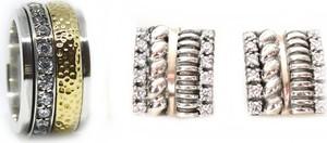 Elegancka artystyczna obrączka z luksusowymi kolczykami w zestawie - Astorga