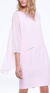 Różowa sukienka L'AF z tkaniny ołówkowa mini