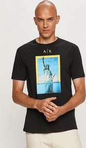 T-shirt Armani Exchange z nadrukiem w młodzieżowym stylu z dzianiny