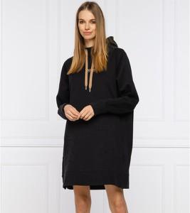 Czarna sukienka Hugo Boss mini z długim rękawem w stylu casual