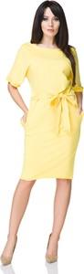 Sukienka sukienki.pl z okrągłym dekoltem midi z bawełny