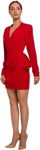 Czerwona sukienka MOE z długim rękawem z tkaniny