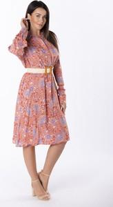 Sukienka Ptakmoda.com z długim rękawem koszulowa z bawełny