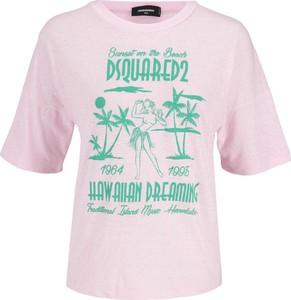 Różowa bluzka Dsquared2 w młodzieżowym stylu