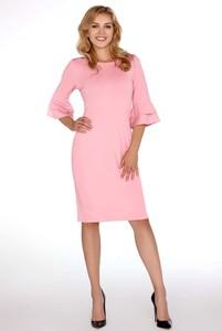 Różowa sukienka MERRIBEL dopasowana z długim rękawem