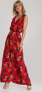 Czerwona sukienka Renee maxi z dekoltem w kształcie litery v