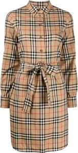 Brązowa sukienka Burberry z bawełny w stylu casual