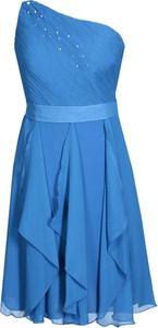 Niebieska sukienka Fokus bez rękawów z szyfonu w stylu boho