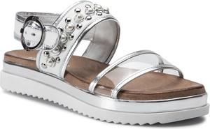 Srebrne sandały Carinii ze skóry w stylu casual